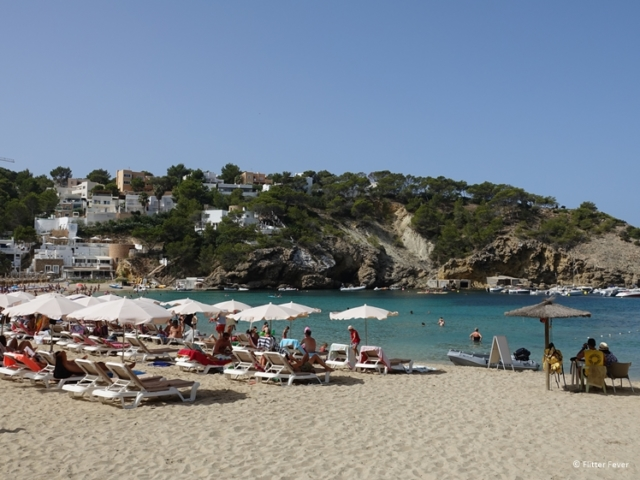 Cala Vedella is a nice large sandy beach in the southwest of Ibiza