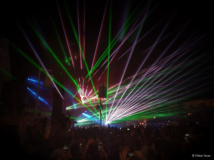 Calvin Harris laser show at Ushuaia Ibiza