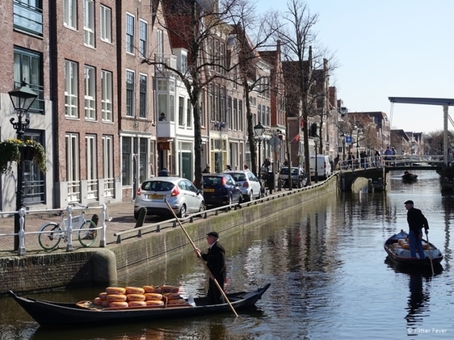 Cheese boats in the Zijdam canal towards the Voordam canal in Alkmaar