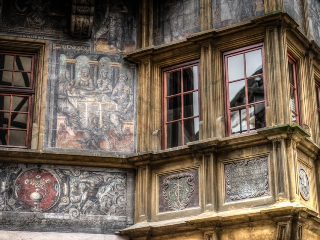 Close up of Pfister House in Colmar