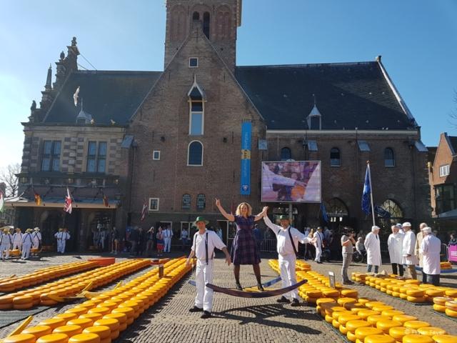 Enjoying myself at the Cheese Market in Alkmaar