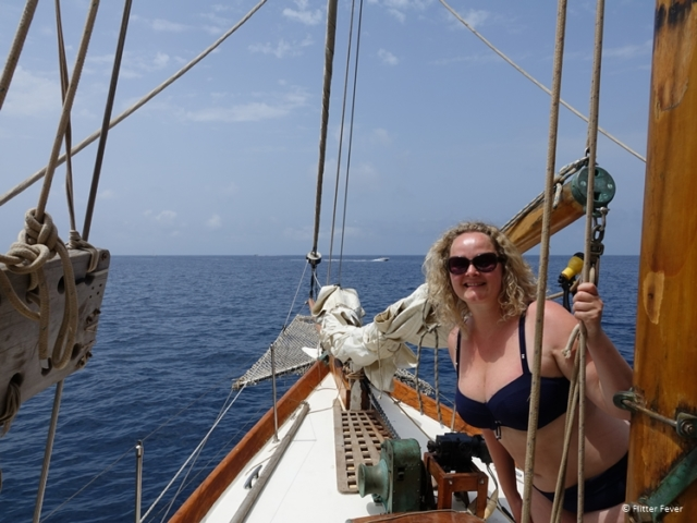 Enjoying the boat ride - I was never on a sail ship before Ibiza