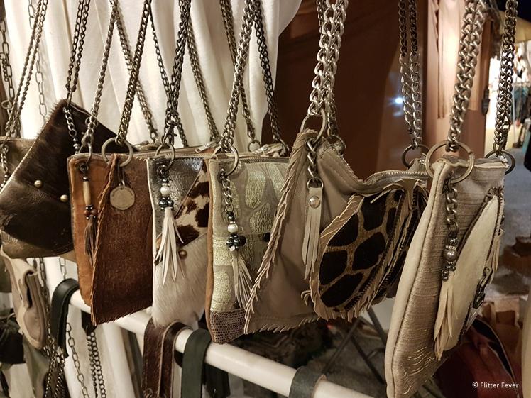 Hand-made leather bags at Linda Ibiza on the Las Dalias market