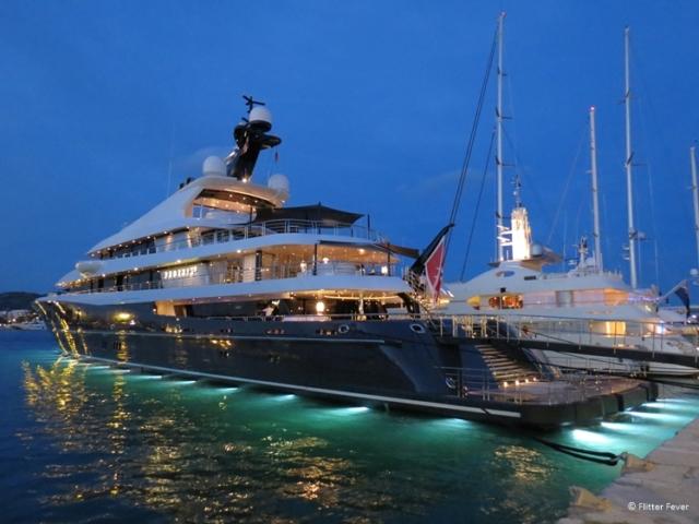 Huge luxury yacht in the marina of Eivissa (Ibiza)