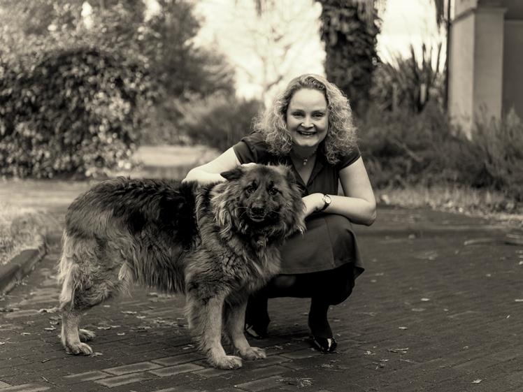 sepio photo woman with German shepard dog