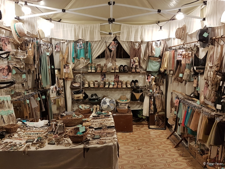 Market stand with cute clothes and jewelry at Las Dalias hippie market Ibiza