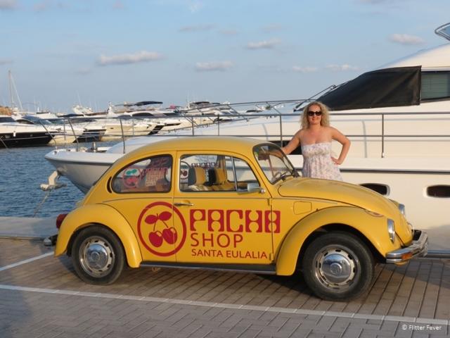 Old Volkswagen Beetle of Pacha shop Santa Eularia Ibiza