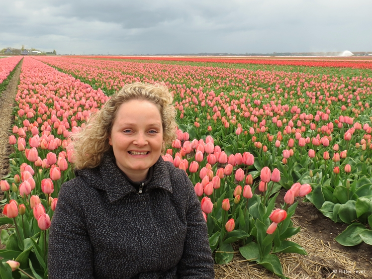 Sitting in the tulip fields