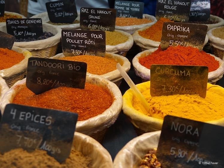 Spices for sale at Colmar market hall