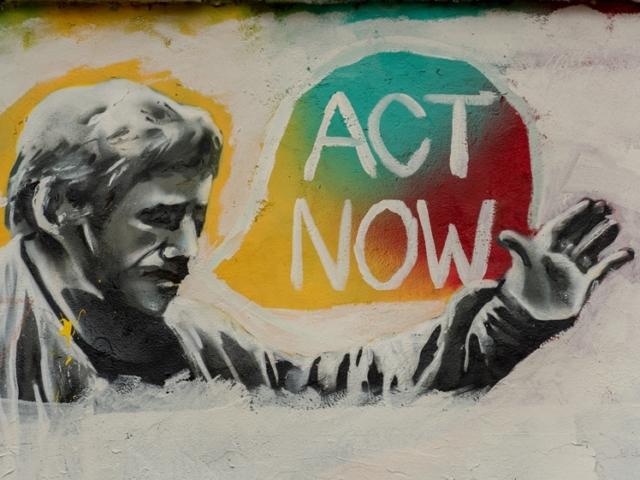 Street art Prague ACT NOW