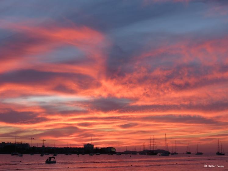 Sunset at Sant Antonio beach Ibiza