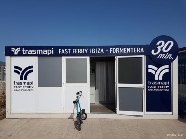 Trasmapi ticket office in Eivissa port for Formentera Ibiza fast ferry