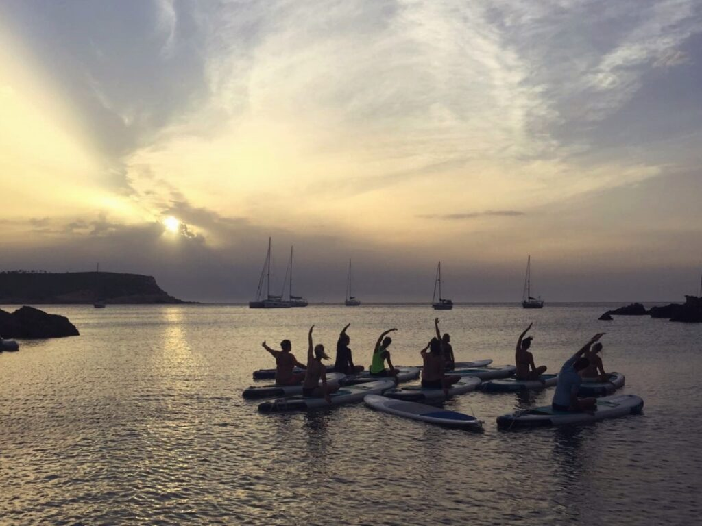 Yoga on a SUP at Ibiza yoga retreat