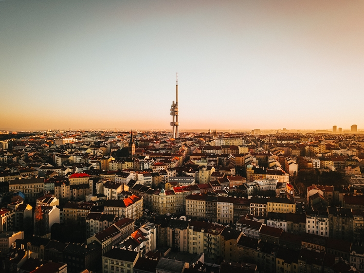 Zizkov Television Tower at sunset above Prague