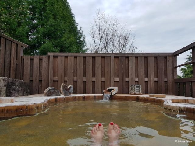 Bathing in a warm onsen bath is great for soar muscles