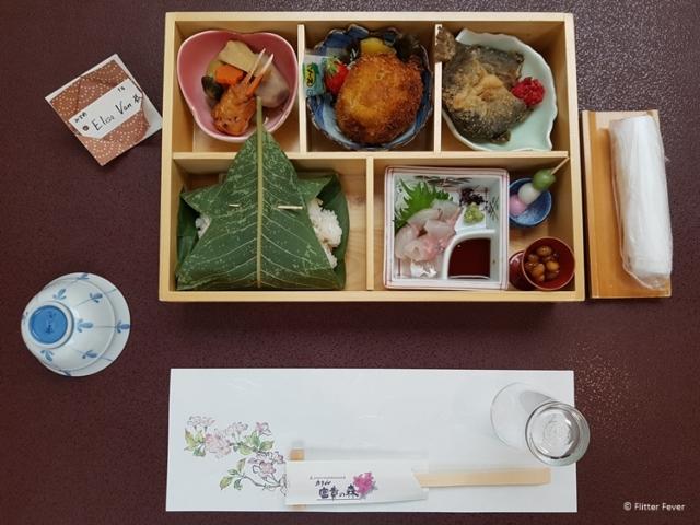 Bento box dinner at Hotel Fuki no Mori in Nagiso near Tsumago