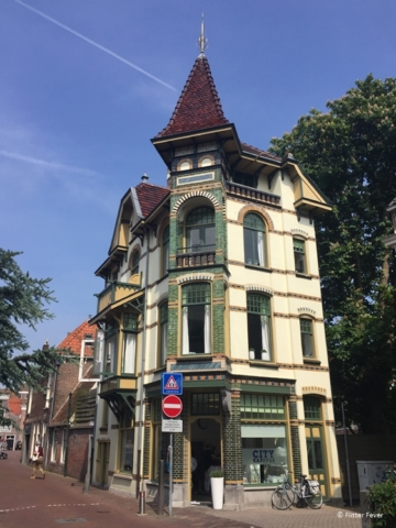 Characteristic tower house at the Zilverstraat Alkmaar, The Netherlands