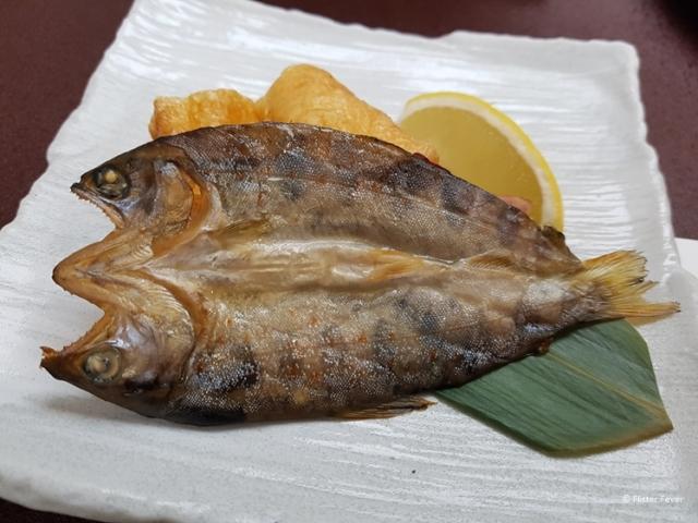 Dried fish for dinner at Hotel Fuki no Mori