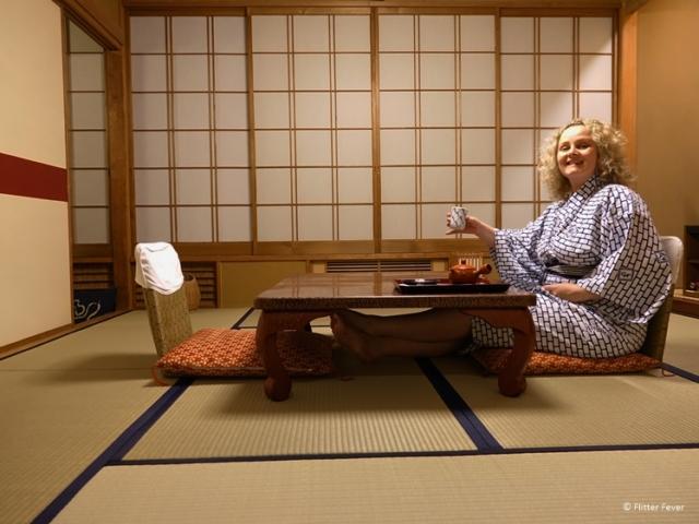 Having a cup of tea in my tatami room at Yudanaka Yumoto