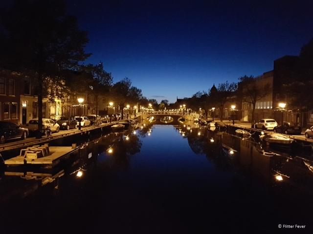 Oudegracht in Alkmaar at blue hour
