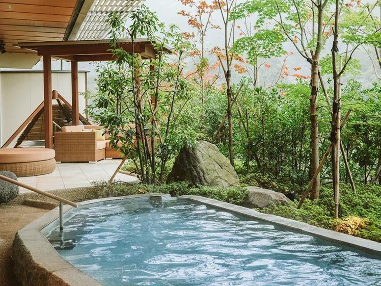 Outdoor onsen bath at Kanaya Hotel Kinugawa in Nikko