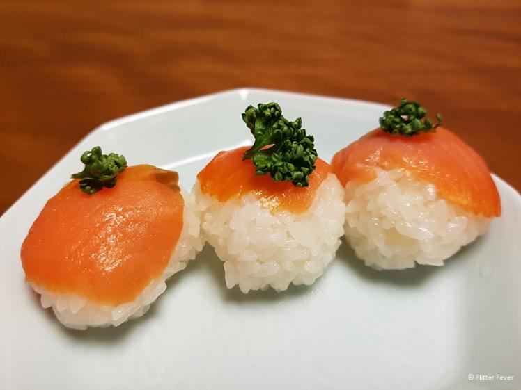 Salmon sushi at Yudanaka Yumoto