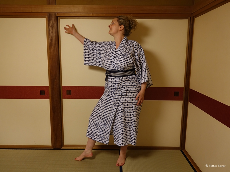 Showing off my pretty yukata on tatami mat and paper room dividers