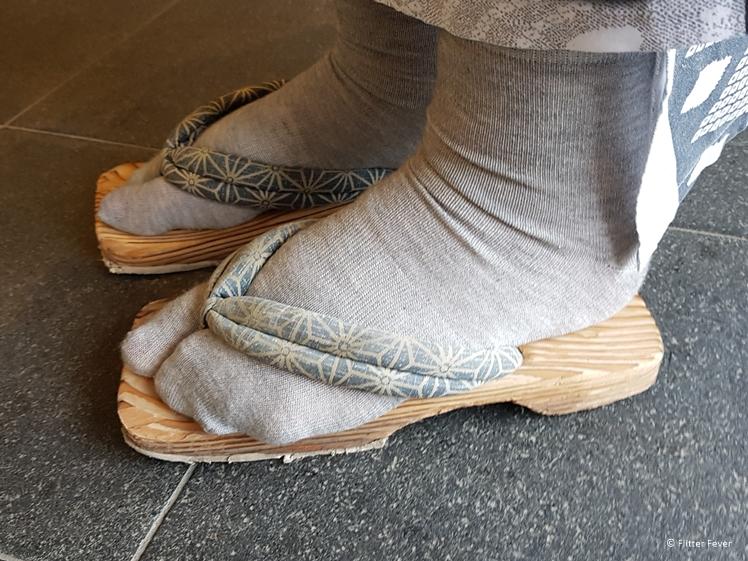 Wooden slippers and special toe socks at Hotel Fuki no Mori, Nagiso