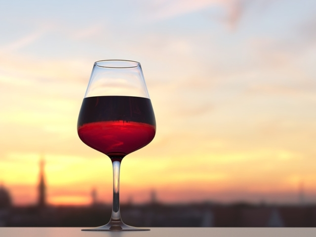 A glass of red wine with a view