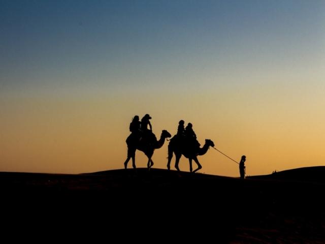 Camel ride in the desert in Dubai at sunset