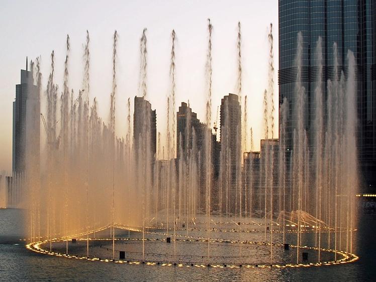 Fountain by shopping mall in Dubai