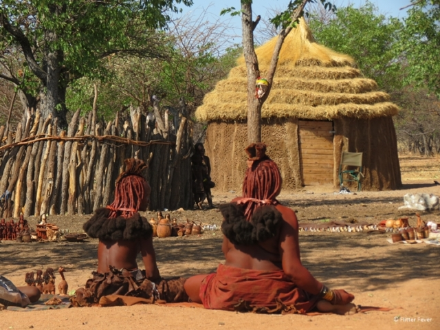 Himba ladies selling handmade stuff