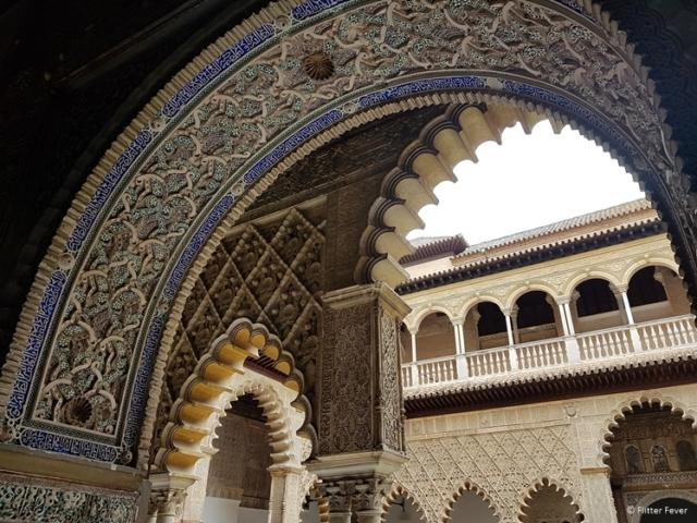 Moorish arches at Real Alcazar royal palace Seville