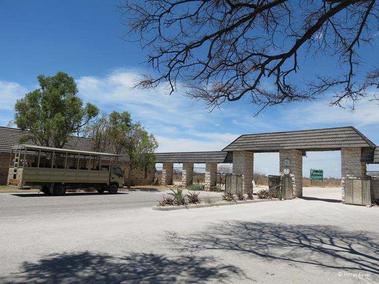 Okaukeujo Camp gate at Etosha National Park namibia