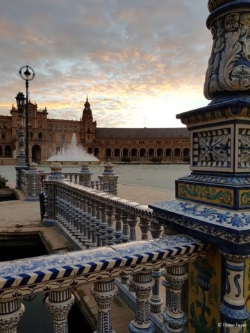 Plaza de Espana Seville at sunrise