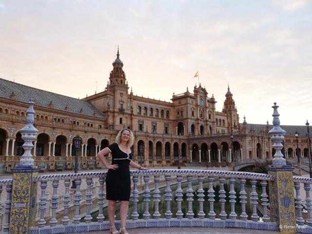 Plaza de Espana seen from bridge Seville Sevilla