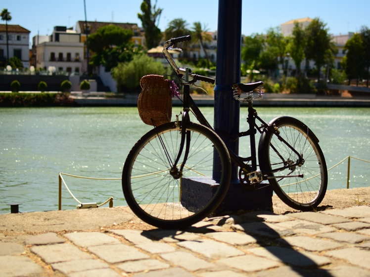 Parked bicycle next to the water