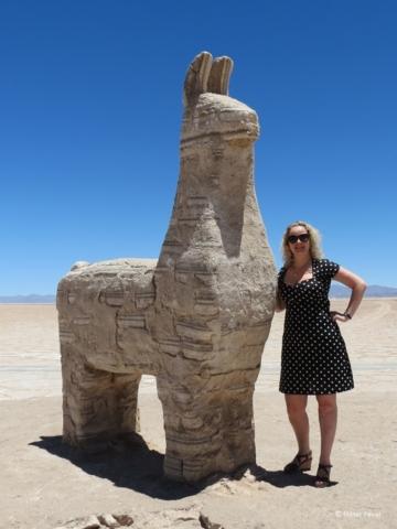 Salty guanaco statue at Salinas Grandes Jujuy Argentina