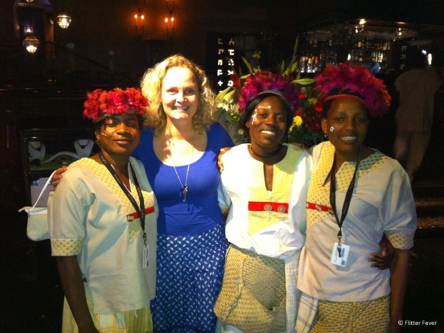 With the waitresses at Moyo Restaurant in Melrose Arch Johannesburg