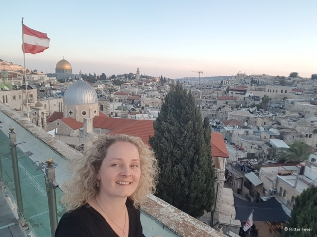 At the Schwester Bernadette Terrasse rooftop of the Austrian Hospice in Jerusalem