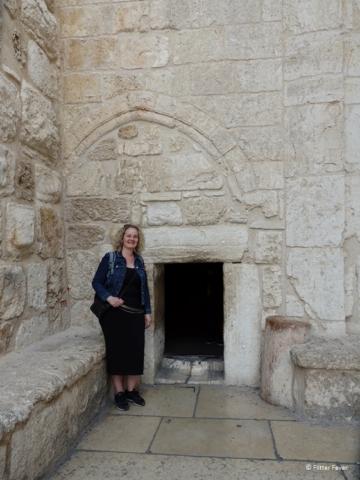 At the tiny entrance of Church of Nativity Bethlehem