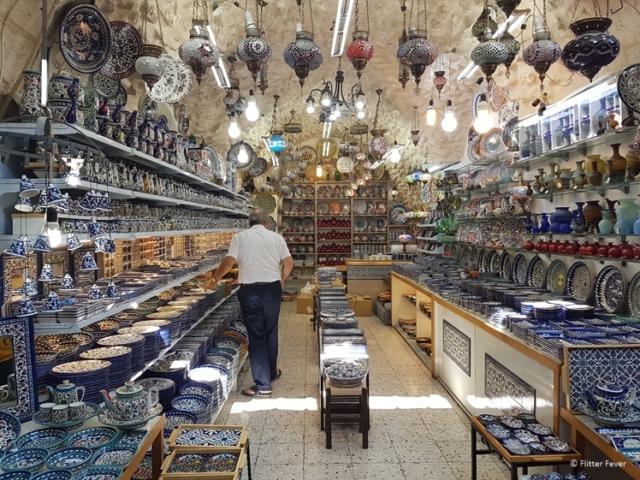Ceramics shop in Jerusalem Old City Bazar