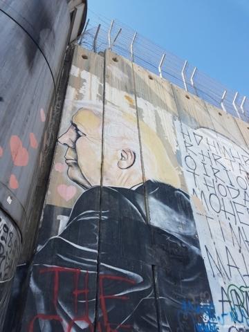 Donald Trump street art on Israeli West Bank Barrier Bethlehem