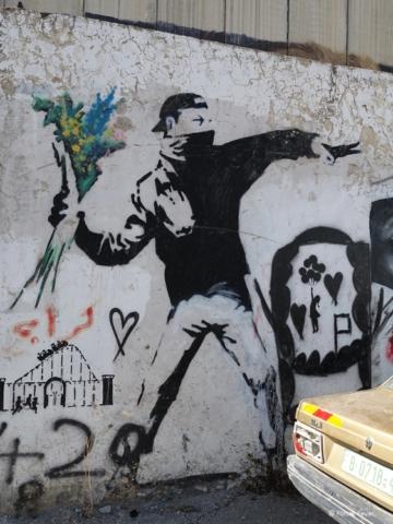 Fake Banksy Flower Thrower street art Bethlehem