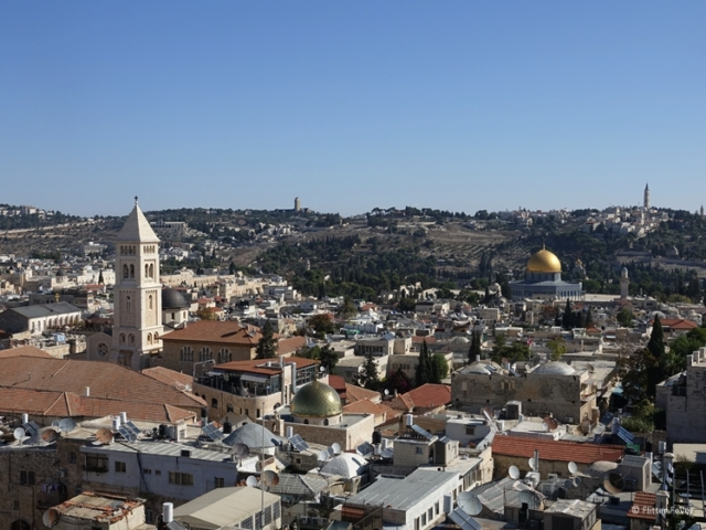 Jerusalem Old City view from the Tower of David panoramic deck