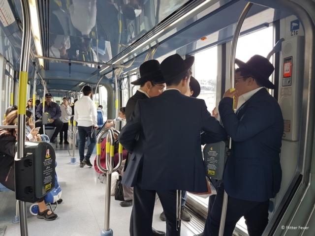 Jewish boys on tram line 1 Jerusalem