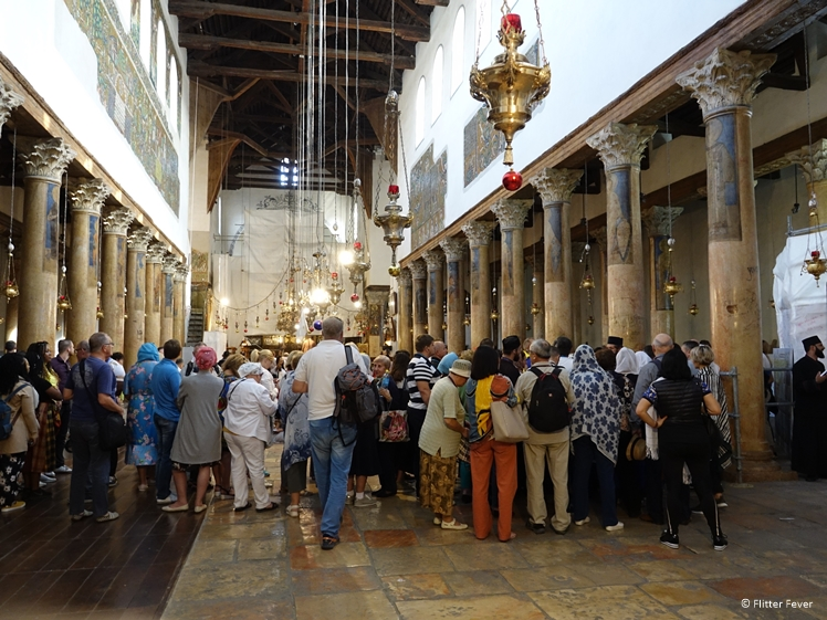 Long lines to get in the Grotto of Nativity inside the Church of Nativity in Bethlehem