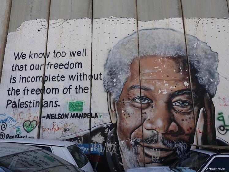 Nelson Mandela street art Israeli West Bank Barrier Bethlehem freedom