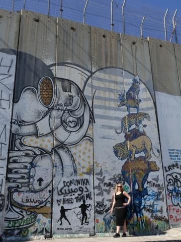 Various styles of street art at Israeli West Bank Barrier Bethlehem