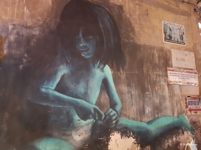 Blue child street art Napoli